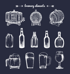 set of vintage brewery elements retro vector image