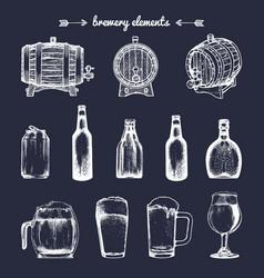 Set vintage brewery elements retro vector