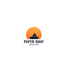 Ship or boat with sunset circle logo design vector