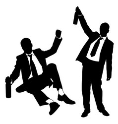 silhouettes of drunk men vector image