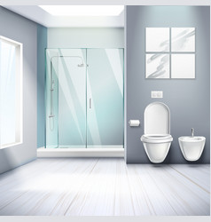 Simple bathroom interior realistic composition vector