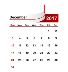 simple calendar 2017 year december month vector image