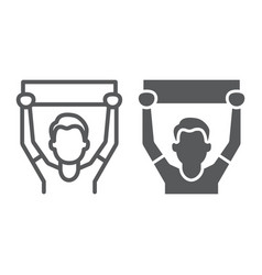 Soccer fan line and glyph icon sport and person vector