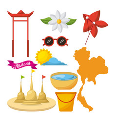 Songkran thailand festival celebration icons vector
