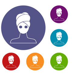 Spa facial clay mask icons set vector