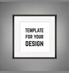 Square blank framed poster on grey wall vector