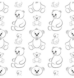 Teddy bears contours seamless vector