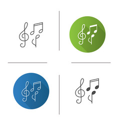 Treble clef and musical notes icon vector