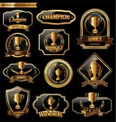 trophy retro golden badges colllection vector image