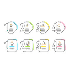 Water splash latte coffee and candy icons set vector