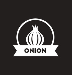 White icon on black background onion emblem vector