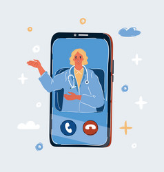 Woman doctor on screen vector