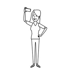 young woman standing character person casual vector image