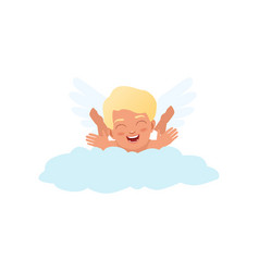 baby cupid character playfully lying on a cloud vector image