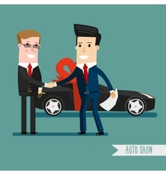 Businessman or manager is holding a key of new vector image vector image