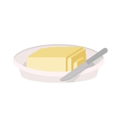 Full color dish with butter and knife vector