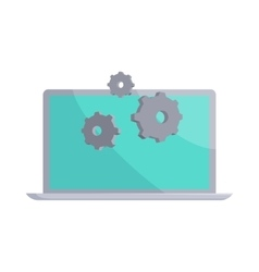 Laptop and gears icon cartoon style vector image