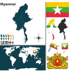 Myanmar map world vector image vector image