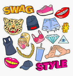 swag style teenage fashion doodle with lips vector image vector image