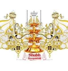 Burning diya on happy Diwali Holiday doodle vector image vector image