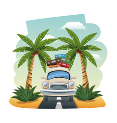 cartoon car with luggage on roof tropical road vector image
