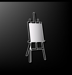 easel sign gray 3d printed icon on black vector image