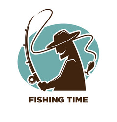 fishing time icon for fisherman club or fishery vector image vector image