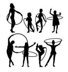 Happy hula hoop activity silhouettes vector