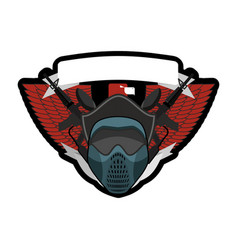 paintball logo military emblem army sign helmet vector image