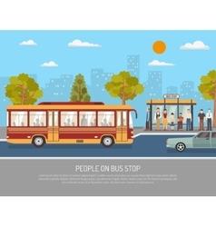 Public Transport Bus Service Flat Poster vector image vector image
