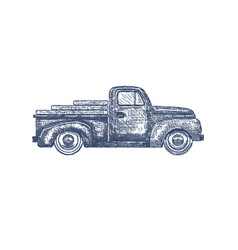 vintage retro pickup truck isolated on white vector image