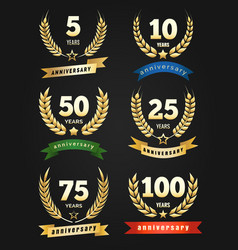 anniversary golden banners vector image vector image