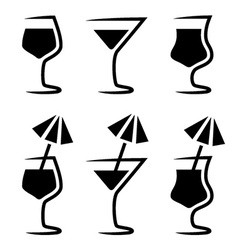 cocktail glass silhouette with parasol vector image vector image
