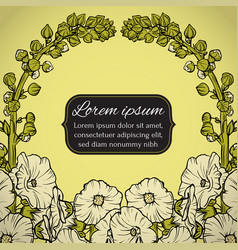 floral wreath postcard with flowers vector image vector image