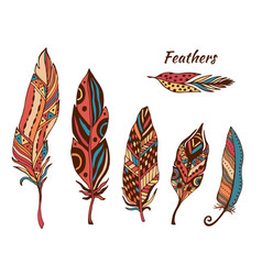 hand drawn boho feathers collection set of doodle vector image vector image