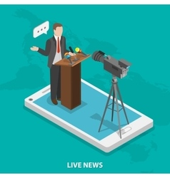 Live news flat isometric concept vector image vector image