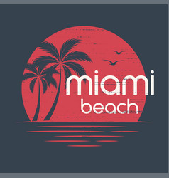 miami sunset t-shirt and apparel design vector image vector image