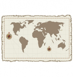 old world map on parchment vector image vector image