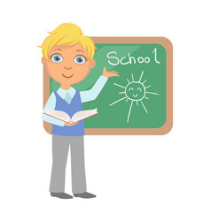 schoolboy standing near the blackboard and writing vector image
