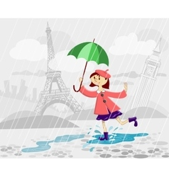 French girl with umbrella vector image
