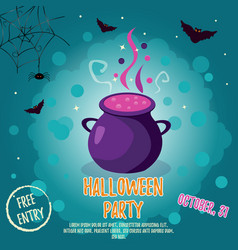 halloween backgrounds with bright cauldron and vector image vector image