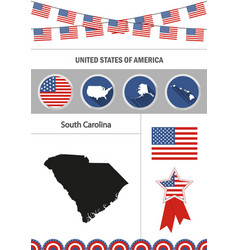 map of south carolina set of flat design icons vector image vector image