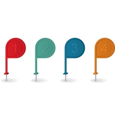 Pin pointer with numbers in different colors vector