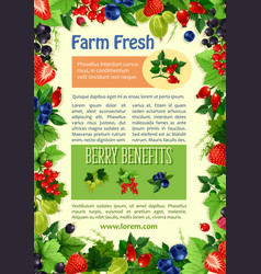 poster of farm fresh berries and fruits vector image vector image