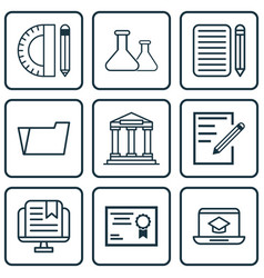 set of 9 school icons includes home work college vector image