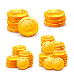 set stacks of coins on the white background vector image