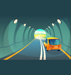 tunnel with car highway for vehicle vector image