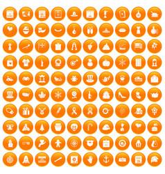 100 national holiday icons set orange vector