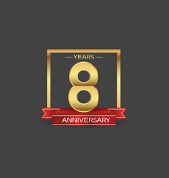 8 years anniversary logo style with golden square vector