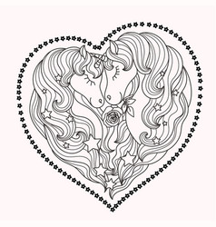 a pair of beautiful unicorns with long mane vector image